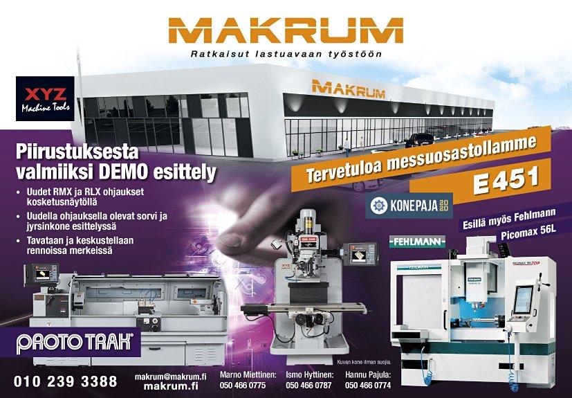 Tervetuloa Makrumin osastolle E451 Konepajamessuilla 17.-19.3.2020